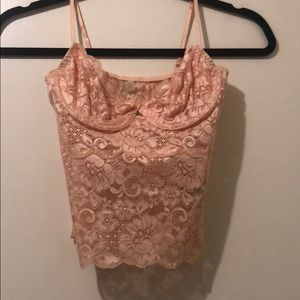 Guess pink lace crop top.